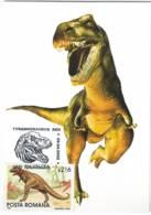 MAX 47 - 143 TYRANNOSAURUS, Animal Prehistoric, Romania - Maximum Card - 2002 - Timbres
