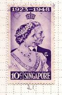 PIA - SINGAPORE - COLONIA  BRITANNICA -1948 - Nozze D'Argento Dei Sovrani Britannici  -   (Yv  21 ) - Singapore (...-1959)