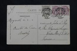 LEVANT FRANÇAIS - Affranchissement Type Blancs De Beyrouth Sur Carte Postale Pour La France En 1911 - L 69642 - Lettres & Documents