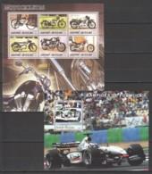 H156 2003,2005 GUINE-BISSAU TRANSPORT CARS MOTORCYCLES FORMULA 1 1KB+1BL MNH - Auto's