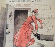 1886 Journal LA JEUNE GARDE - MARIANNE - LA MARIÉE DU MARDI GRAS Par BLASS - POSTE DE POLICE - 1850 - 1899