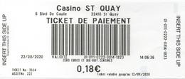 Ticket De Paiement : Casino Saint Quay (Département 22) - Casinokarten