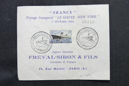 FRANCE - Enveloppe Du Voyage Inaugural Du Paquebot France En 1962 - L 69685 - Posta Marittima