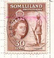 PIA - SOMALILAND - PROTETTORATO  BRITANNICO -1953-58 - Regina Elisabetta II E Askaro  -   (Yv  124 ) - Somaliland (Protettorato ...-1959)