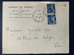 Enveloppe Lettre Mercure Multiple Banque De France Paris - 1921-1960: Moderne