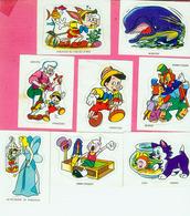 AUTOCOLLANT STICKER.  LA  VACHE QUI RIT.   PINOCCHIO  8 STICKERS  1975 - Stickers