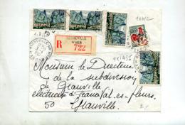 Lettre Recommandée Regneville Sur Mer Sur Coq Moustiers - Poststempel (Briefe)