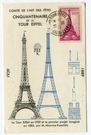 RC 18400 FRANCE 1939 CINQUANTE ANS DE LA TOUR EFFEIL TRANSPORT PAR BALLON - Luftpost