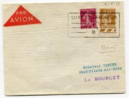 RC 18403 FRANCE 1938 CACHET ENCADRÉ SAINT ETIENNE AVION POUR LE BOURGET POUR VANIER CHEF PILOTE AIR BLEU TB - Postmark Collection (Covers)