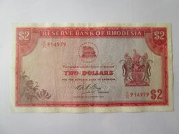 Rare! Rhodesia 2 Dollars 1975 Banknote - Rhodesia