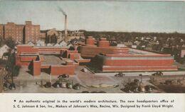 RACINE , Wisconsin , 1940-50s ; Johnson's Wax Headquarters ; Frank Lloyd Wright Design - Werbepostkarten