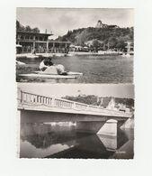 2 CPSM:DUN SUR MEUSE (55) PERSONNES SUR LE LAC VERT LE CASINO,PONT DE LA TOUR - Dun Sur Meuse