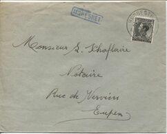 REF1700/ TP 401 S/L.c.Herbesthal 28/7/36 + Griffe Bleue Encadrée MORESNET > Eupen - Poststempel