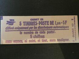 FRANCE Carnet N° 1972-C1 Type SABINE - 1,00 Fr. Rouge - 5 Timbres CODE POSTAL - Uso Corrente