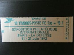 FRANCE Carnet N° 2155-C2a Type SABINE - CONF 6 - 1,60 Fr. Rouge - 10 Timbres Philex 82 - Uso Corrente