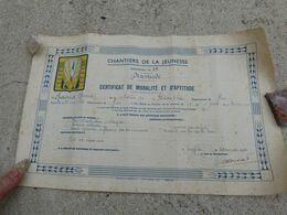 Chantier De Jeunesse Certifficat De Moralité Et Aptitude CJF N°19 DIXMUDE - 1939-45