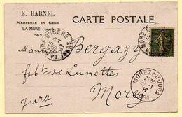 Carte Entier Postal. De La Mure à Morez. Affranchissement Semeuse 15c Fond Ligné. 26/01/1917 - Covers & Documents