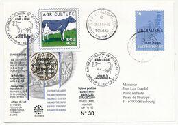 BELGIQUE => Env. Parlement Européen Session De Bruxelles 28/3/96 - Crise De La Vache Folle (Vignette) - Storia Postale