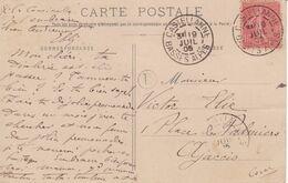 10c Semeuse Lignée Oblitération DAGUIN Castellanne Basses-Alpes + Boîte Rurale L Cpa Puget-Theniers 1905 - 1877-1920: Semi Modern Period