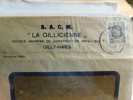 """Enveloppe Timbrée Publicitaire, S. A. C. M. """" La Gillicienne """", Gilly-Haies, 1923 - Publicidad"""
