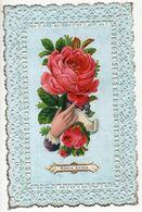 CPA Fantaisie - Ajouti Chromo Fleurs, Rose,main - Bonne Année - Dentelle - New Year