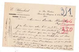 Courrier 1921 E. Blanchard, 10 Rue Cacheux, Bécon-les-Bruyères - France