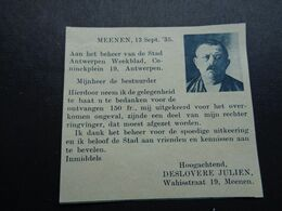 """Origineel Knipsel ( 6217 ) Uit Tijdschrift """"  De Stad """" 1936 :   Julien Deslovere  Meenen  Menen  Menin - Ohne Zuordnung"""
