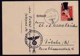 Feldpost Spott Karte Wert Keinen Pfennig Chamberlain Gelaufen - Occupation 1938-45