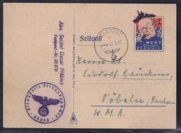 Feldpost Spott Karte Wert Keinen Pfennig Churchill Gelaufen - Occupation 1938-45