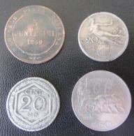 Italie / Italia - 4 Monnaies : 5 Centesimi Toscana 1859, 20 Centesimi 1908 Et 1918, 50 Centesimi 1925 - Italy