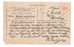 Memorandum 1922 Grains Pailles Fourrages Ph. Balança, Montréal, Aude - Agriculture