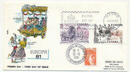 ESPAGNE - Enveloppe FDC - EUROPA 1981 (Folklore) + Cachet Conseil De L'Europe /Liberté - 4/5/1981 - FDC