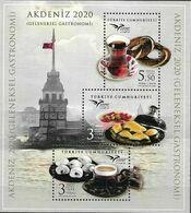 TURKEY, 2020, MNH,EUROMED, GASTRONOMY OF THE MEDITERRANEAN, SWEETS, TEA, COFFEE, SHEETLET - Levensmiddelen