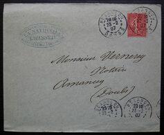Besançon 1907 (Doubs) E. Rousseau La Nationale, Compagnie D'assurance, Agent Général, Lettre Pour Annonay - 1877-1920: Semi Modern Period