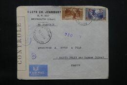 LIBAN - Enveloppe Commerciale De Beyrouth Pour La France En 1944 Avec Contrôle Postal - L 69779 - Lettres & Documents