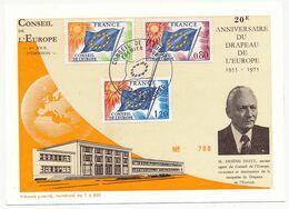 FRANCE - Carte Postale Affr 3 Valeurs Drapeau Conseil De L'Europe - 20e Anniversaire Du Drapeau - 1er Jour 22/11/1975 - Lettres & Documents