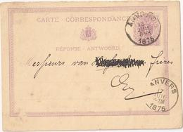 Stamped Stationery Belgium - Stamped In Anvers 1875 - Postcards [1871-09]