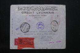 EGYPTE - Enveloppe Commerciale En Recommandé Du Caire Pour La France En 1954 Avec Cachets De Contrôle Postal - L 69780 - Briefe U. Dokumente