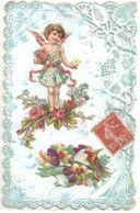 CARTE DENTELLE .  DECOUPIS CHROMO . BOUQUET DE  FLEURS .. ROSES  .. L'ANGELOT PORTE 1 MESSAGE .. 1908 - Fêtes - Voeux