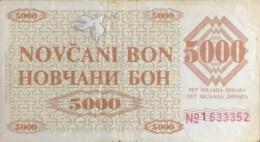Bosnia 5.000 Dinara, P-9g (11.5.1992) - ZENICA Issue - Fine - Bosnia And Herzegovina