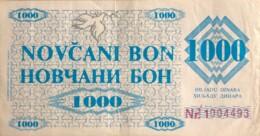 Bosnia 1.000 Dinara, P-8h (11.5.1992) - ZENICA Issue - Fine - Bosnia And Herzegovina