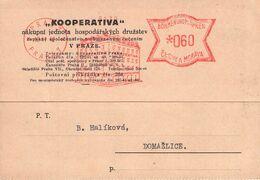 BÖHMEN & MÄHREN - POSTKARTE FREISTEMPEL 60 HELLER 1942 PRAHA7 - DOMAZLICE /AS48 - Cartas