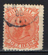 BRASILE - 1884 - EFFIGIE DELL'IMPERATORE DOM PEDRO - 10 R. - DENTE CORTO - USATO - Brasilien