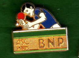 Pin's  BNP ASC Paris  Ping Pong  Zamac  Ballard - Pin's & Anstecknadeln