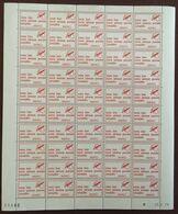 FRANCE 1979 Vignette Feuille Entière Non Pliée De 50 Vignettes CODE POSTAL Coin Daté Du 25.6.79 - Volledige Vellen