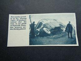 """Origineel Knipsel ( 6242 ) Uit Tijdschrift """"  De Stad """" 1936 :  Ongeluk Autobus Ieper - Wijtschaete  Wijtschate - Alte Papiere"""