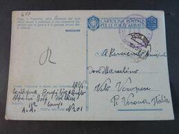 """477 ITALIA Regno -1942- Storia Postale """"Franchigia"""" P. Militare Nº 201 USº (descrizione) - Franchise"""
