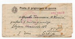 1943. WWII SERBIA,GERMAN OCCUPATION OF SERBIA,POW IN ITALY,CENSORED LETTER TO NIS, - Serbia