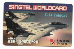 Aerospace 98, F-14 Tomcat, Singapore Used Prepaid Phone Card, # Aerospace-1 - Airplanes