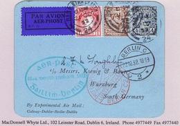 Ireland Airmail Galway 1932 First Flight By Experimental Air Mail Galway-Dublin-Berlin O'Loughlin Card Green Cachet 22.1 - Luftpost